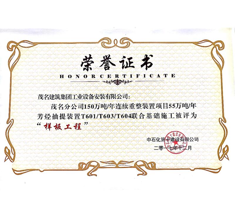 样板工程荣誉证书