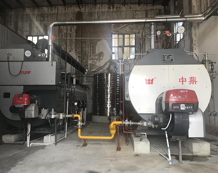 湖北黄冈雅比家纺10T天然气蒸汽锅安装工程